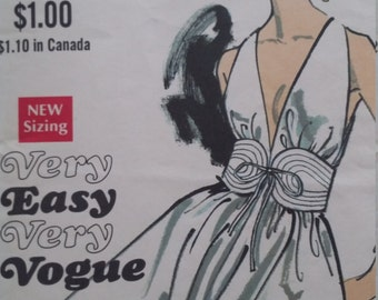 Vintage Vogue 7568 One-Piece Dress Size 12 Bust 34