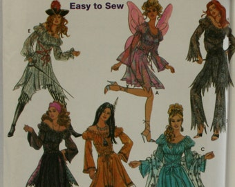Simplicity 5363 Misses Halloween  Fairy, Gypsy, Pirate, Indian, Costume sewing Pattern New / Uncut Size 6, 8, 10, 12