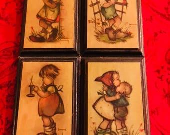 Vintage Wall Art Set - Set of 9 Framed Prints by Bonnie - Framed hummel prints Style- Vintage Children Decor