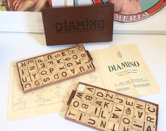French game of Diamino in its original box. Wooden letters. 1950's