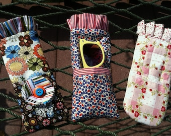 Glasses Case PDF Sewing Pattern INSTANT DOWNLOAD  for Case with Ruffled Trim, Reversible, Quilted-Also Great for Rotary Cutters