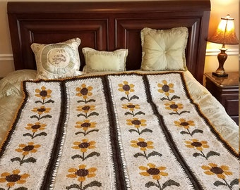 Elegant Tapestry Style Sunflower Afghan - Ready to Ship