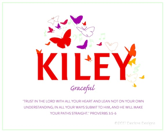 KILEY Name Art Canvas with Name Meaning and Scripture Verse, 16x20 - wall art baby name meaning