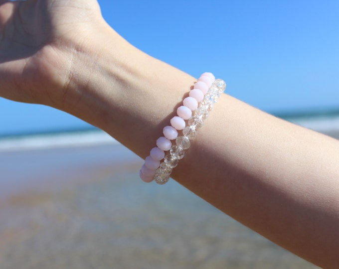 RC Signature Bracelet in Pink and Clear.