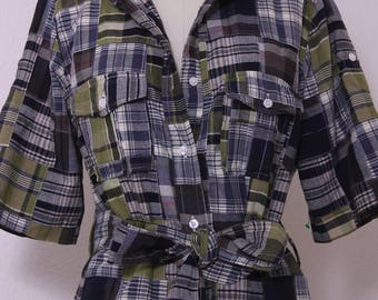 1980s Carole Little's  Rare Plaid Patchwork Shirt Dress in  Forest Green Colors  Rolled Up Sleeves Size L