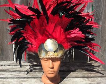 Ready to ship today. Black and red.Tahitian costume headdress-dance, Polynesian costume, Tahitian dance