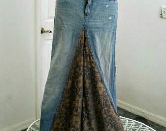 Lauren ballroom jean skirt taupe lace Renaissance Denim Couture vintage funky boho fairy goddess mermaid belle bohémienne