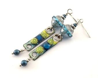 Handmade Earrings, Enameled Earrings, Blue and Yellow Earrings,  Flower Earrings, Silver Earrings, Artisan Earrings, Boho Earrings, OOAK