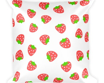 Strawberry Square Pillow