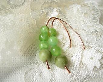 Gemstone earrings Green Stone earrings Jade earrings Green earrings Wire copper earrings Natural earrings Everyday Earrings Gem earrings