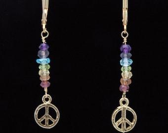 CHAKRA Stones / Chakra earrings / PEACE SIGN Earrings / Chakra Jewelry / Chakra Stone Set / Chakra Crystals / Energy Jewelry
