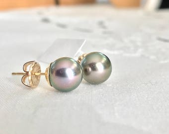 Cultured Tahitian Pearl Stud Earrings, 14k Yellow Gold (PE60)