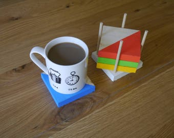 Wooden drink Coasters with holder Handmade