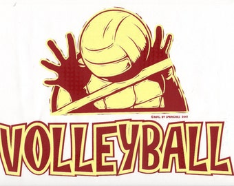 """VOLLEYBALL with Hands & Ball on ONE 18"""" x 22"""" Fabric Panel to Sew. Picture is 9"""" x 11"""" on white background."""