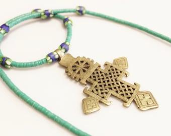 Ethiopian Brass Cross Necklace, Venetian Bead Necklace, African Jewelry