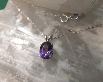 """8x6mm Amethyst & Sterling Silver 18"""" Necklace"""