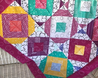 Modern bright quilt top UNFINISHED / 37 inch square / not a finished quilt / ready to ship / baby size, handmade, gender neutral, girl, pink