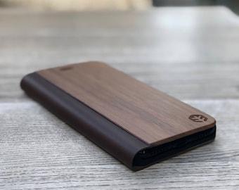OXSY Wood iPhone Case | Wood iPhone 6/7/8 Folio Case / iPhone 6/7/8 Flip Case | iPhone 6/7/8 Walnut Wood Case