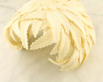 Vintage Hat, 1950's Cream with Cloth Leaves, Cap, The Hat Box