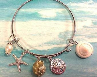 Bangle Beach Bracelet, Beach Charm Bracelet, Silver Bracelet,  Bead Bangle Bracelet,  Beach Bangle Bracelet, Beach Jewelry