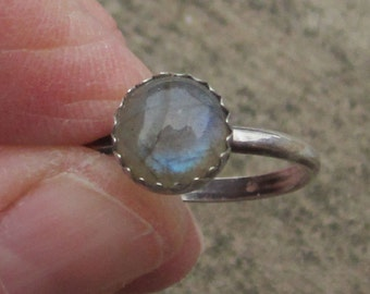 Der Labradorit Sterling Silber Ring - Größe 7 1/4