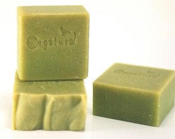 Green field soap / Cocoa butter & Teatree EO / Orgatural Handmade Soap /  Cold Process Artisan Soap / 100% natural Soap /
