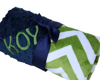 Green and White Chevron Minky Blanket with Navy dot minky back-personalized
