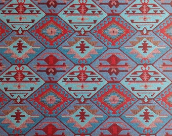 Ethnic Tribal Style Upholstery Fabric, Double-faced Cloth, Aztec Navajo Geometric Kilim Fabric, Blue Red, by the Yard/Meter, Ycp-026