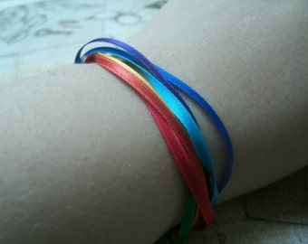 bracelet made with ribbons ribbon rainbow