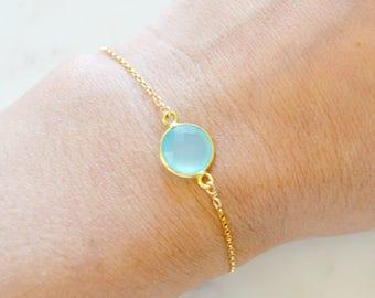 Acqu Gem bezel bracelet, Gold Vermeil bezel stone on gold filled chain, Aqua Blue Chalcedony bracelet, simple delicate dainty bracelet