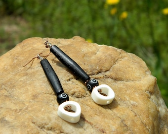Black and White Batik Bone Boho Earrings