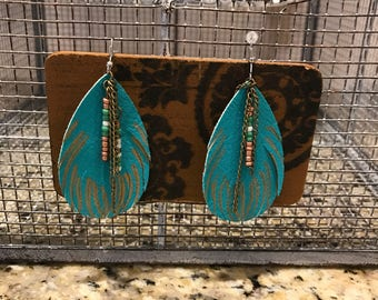 Aqua feather leather earrings
