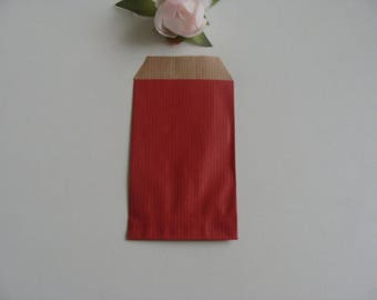 3 gifts jewelry pouch Red 7 * 12 cm kraft Brown background paper
