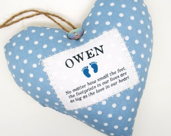 Baby Remembrance Ornament / Infant Loss Keepsake - Fabric Heart made in your choice of fabric.