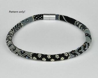 Bead Crochet Rope Pattern - black-gray meets swarovski bicone with seed beads - tutorial