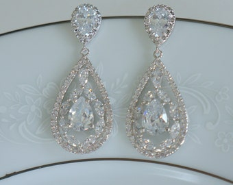 Crystal Wedding Earrings Bridal Jewelry Large Teardrop Earrings Wedding Chandielier Earrings