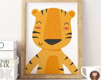 Cute Tiger print,  Tiger Nursery Art, Baby room, Cute kids print, Animals wall art, Animal nursery decor, Kids room decor, Nursery print