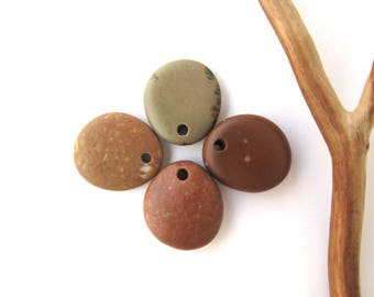 Beach Stone Pendants Mediterranean River Stone Pendants Top Drilled Natural Stones DIY Jewelry Findings Pebble Beads COLOUR QUARTET 20 mm