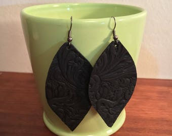 Textured Leather Leaf Earrings