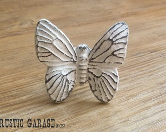 Large White Cast Iron Butterfly Knob - Distressed White Butterfly Knob - Furniture Hardware Drawer Pull - Butterflies Nursery Decor