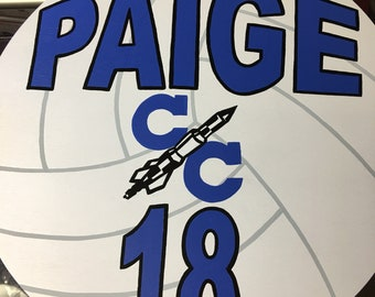 Volleyball yard sign.  Personalized with name and number.  Made out of wood and exterior paint!