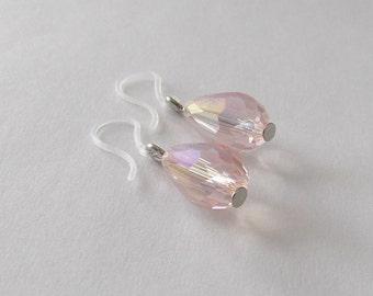 Dainty Summer Earrings. Pale Pink Crystal Tear Drops, Plastic Ear Hook, light pink dangle earring, Nylon Ear Wire, simple earring for girls