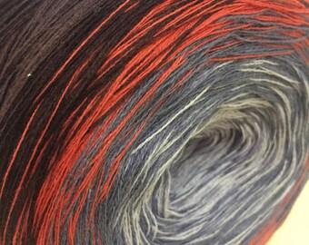 Gradient yarn / yarn / cotton and acrylic yarn / hand spun yarn / 4 thread yarn / degrade yarn /