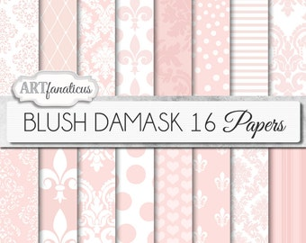 "Blush Damask digital papers ""BLUSH DAMASK"" elegant, pink, white, blush damask, weddings,showers, scrapbooking,birthday, invites,home décor"