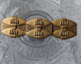 3 inch Art Deco Brassy Brooch