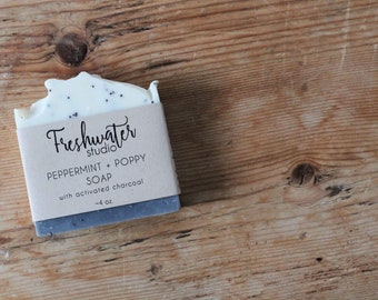 Peppermint + Poppy Soap // Cold Process Soap // Artisan Soap // Natural Soap // Handmade Soap // Exfoliating Soap // Activated Charcoal Soap