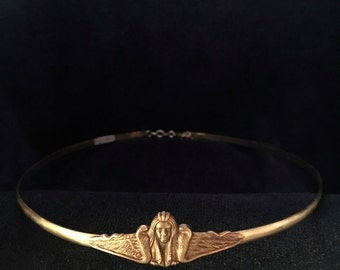 Sphynx and Snakes on Braided  Brass Band Circlet Headpiece