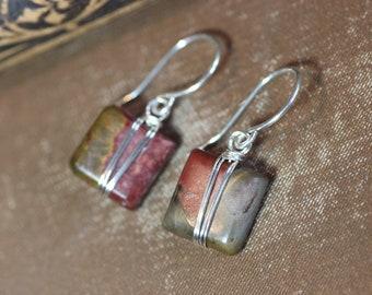 Picasso Jasper Earrings Silver Wire Wrapped Red Green Gemstone Earrings Rustic Jewelry
