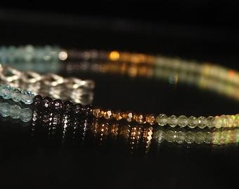 Labradorite, Apatite, Peridot, Grey Pyrite & Yellow Pyrite Bracelet with Opal, Delicate Labradorite Bracelet, Sterling Silver  0019