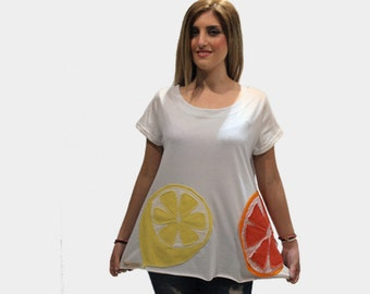 White organic cotton top with lemon and orange/ women white summer top/ white casual top/ short sleeves top/ cotton loose top/ handmade top